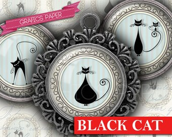 """Digital Collage Sheet Black Cat Kitten Cirles 1.5"""", 1.25"""", 30mm, 1 inch Circles for Card Magnets Stickers for Scrapbooking, Decor Craft td20"""