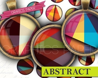 """Circles geometrics Round images - Digital Collage Sheet - td416 - 1.5"""", 1.25"""", 30mm, 1 inch circles Instant Printable Images Bottle caps"""