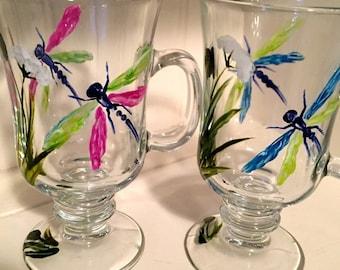 Hand Painted Dragonfly Irish Coffee Mug, perfect Gift for Coffee Lovers