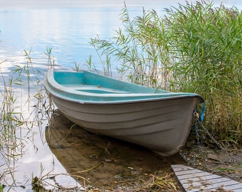 Boat Photography, Old Rowboat, Tranquil Seascape, Coastal Wall Art, Nautical Decor, Soothing Large Wall Art,Lake Home Decor