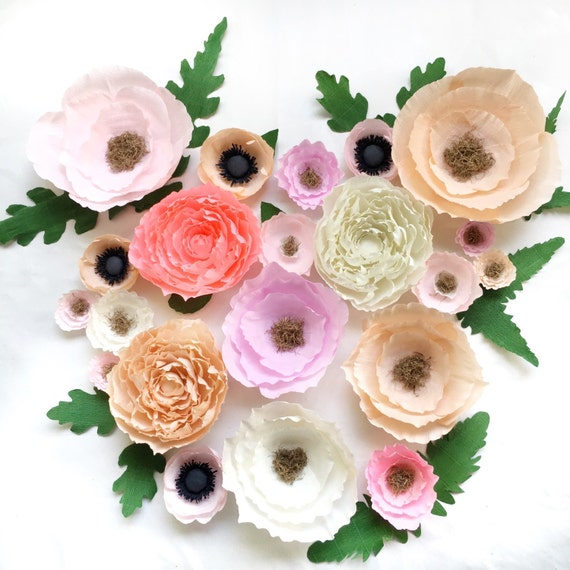 Items similar to crepe paper flower wall paper flower for Crepe paper wall flowers