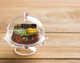 Dollhouse Miniatures Dome Cake Cover + Round Chocolate Birthday Cake