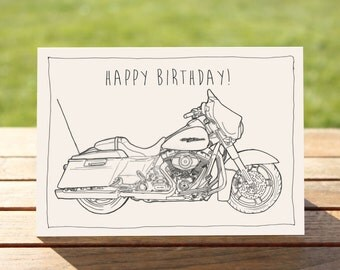 "Motorcycle Birthday Card, Street Glide B&W | A6 - 6"" x 4"" (103mm x 147mm) Motorbike Gift Card, Motorcycle Gift Card"