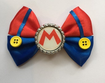 Mario inspired hair bow