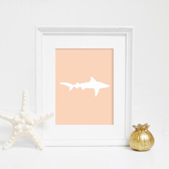 Shark Print, Shark Wall Art, Printable Wall Art, Beach Print, Beach Wall Art, Ocean Print, Art Prints for Kids, Peach Print, Peach Shark
