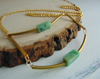 SALE Natural Brass And Amazonite Necklace, Boho Necklace Geometric Necklace