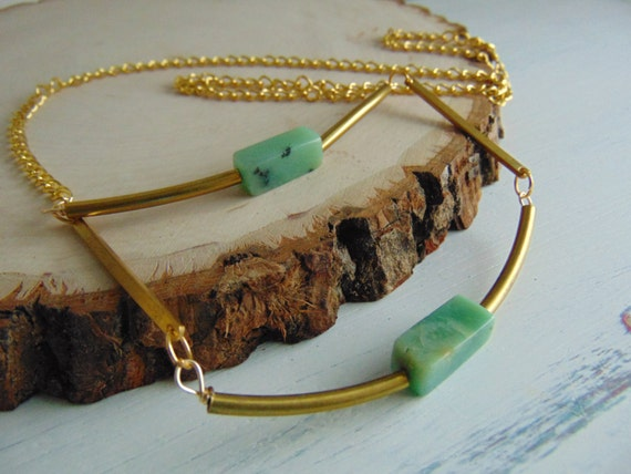 Natural Brass And Amazonite Necklace, Boho Necklace Geometric Necklace