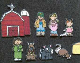 Farmer in the Dell Felt Set// Flannel Board // Imagination // Children // Preschool // Creative Play // Adventure // Song // Nostalgic
