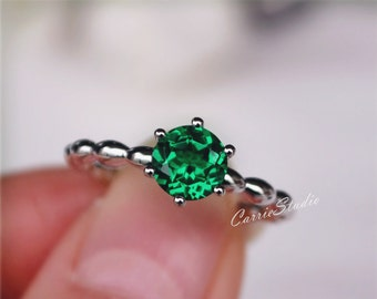 6 mm Lab Emerald Ring 6 Claws Emerald Engagement Ring/ Wedding Ring Sterling Silver Ring Promise Ring Anniversary Ring