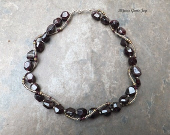 Burgundy Wine Necklace, Garnet, Glass Beads, Sterling Silver