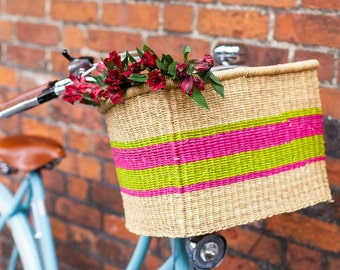 Bright Pink and Green Bicycle Basket