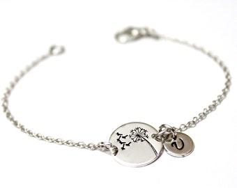 Dandelion Bracelet Sterling Silver,Wish Bracelet.Hand-Stamped,Dandelion Wish Bracelet, initial charm, initial Bracelet, Personalized Jewelry
