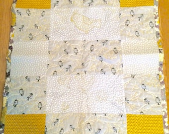 Bird Quilt in Yellow and Grey