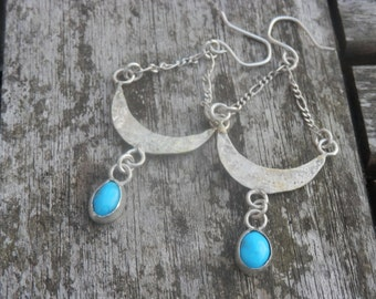 Turquoise Long Earings Sterling Silver Hand MAde