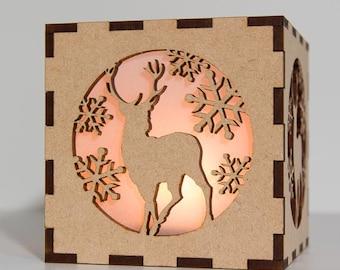 Stag Tea Light Candle Holder - Wood Tea Light Holder - Engraved Wood Votive Candle Holder - Deer Tea Light Holder