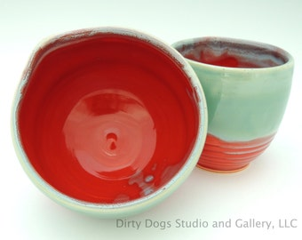 Cherry Red and Robin's Egg Blue, Wheel Thrown, Handmade Stoneware Stacking Prep Bowls, Set of 2