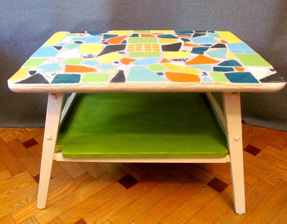 TABLE with ceramic top. Furniture. Hand renewed. boho furniture. Colours; cream, green, yellow, orange, black, blue. original, unique.