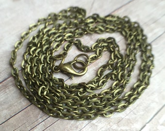 32 inches vintage iron antique bronze plated chain necklace with lobster clasp.  Lead and Nickel free. Link size 4x3x1mm