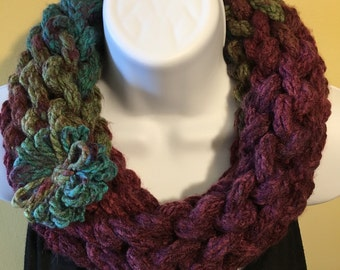 Bulky hand knit purple and teal cowl