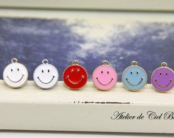 Smiley Charm, Smiley Face Charm, Smiley Face Pendant, Enamel Smiley Face Charm, Please Read Item Detail