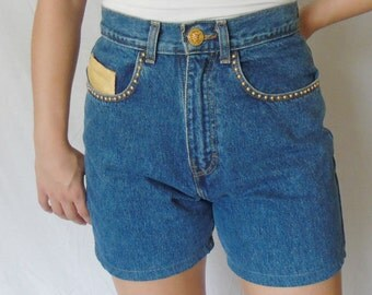 FREE SHIPPING..Vintage Studded Denim High Waisted Blue Jeans Shorts / Size 10 Medium