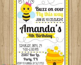 Bumble Bee Birthday Invitation, Bee Invitation, Bumble Bee Party Invitation, Bee Birthday Invitation