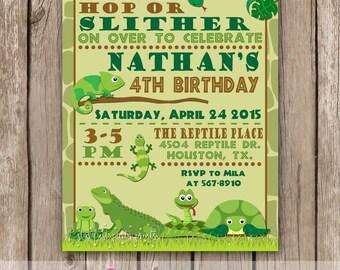 Reptile Invitaion, Reptile Birthday Invitation, Lizard Snake Turtle Invitation