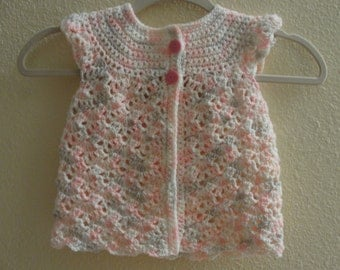 Handmade crochet sleeveless summer cardigan for a girl.. Size 2-4 years. Made in multicolor-  pink, light gray and white.