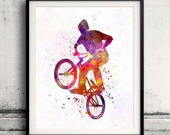 Man bmx acrobatic figure in watercolor - poster watercolor wall art splatter sport illustration print Glicée artistic - SKU 2153