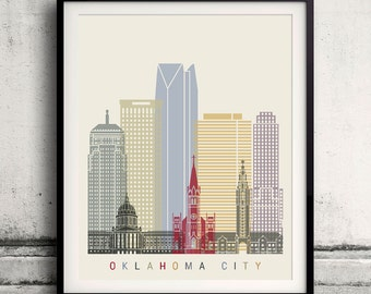 Oklahoma City skyline poster - Fine Art Print Landmarks skyline Poster Gift Illustration Artistic Colorful Landmarks - SKU 2224