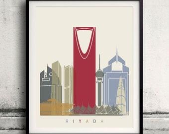 Riyadh skyline poster 8x10 in. to 12x16 in. Fine Art Print Glicee Poster Gift Illustration Artistic Colorful Landmarks - SKU 1132
