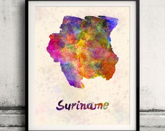Suriname - Map in watercolor - Fine Art Print Glicee Poster Decor Home Gift Illustration Wall Art Countries Colorful - SKU 1731