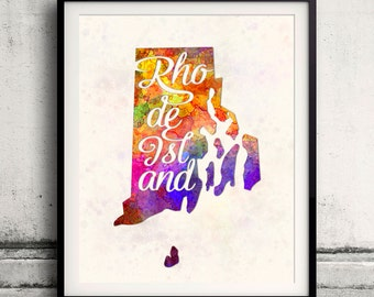 Rhode Island - Map in watercolor - Fine Art Print Glicee Poster Decor Home Gift Illustration Wall Art USA Colorful - SKU 1746
