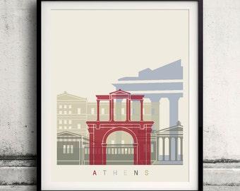 Athens skyline poster - Fine Art Print Landmarks skyline Poster Gift Illustration Artistic Colorful Landmarks - SKU 1950