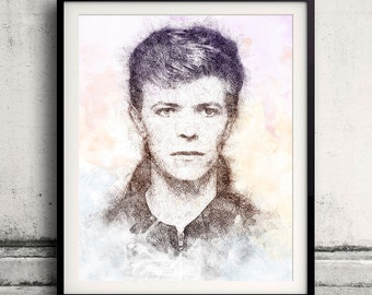 David Bowie portrait 01 in pen & watercolor - Fine Art Print Glicee Poster Gift Illustration Artist Poster - SKU 1959