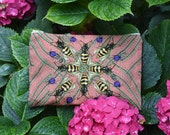 Nice pink clutch with carnivorous and bee pattern, cotton and linen pouch, zipper, hand drawing,
