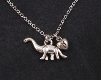 dinosaur necklace, sterling silver filled, initial necklace, silver brontosaurus charm, apatosaurus necklace, paleontology,longneck dinosaur