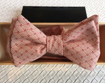 Mens Japanese Red and Cream Wood Block Print Bow tie with Optional Matching Pocket Square and Lapel Pin