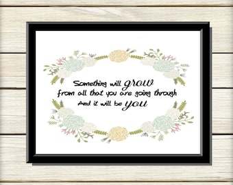 Printable Word Art, Printable Art, Digital Art Print, Wall Art, Instant Download, Motivational Quote, Inspiring Quote, Floral Typography