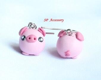 Pink Pig Earrings, pig earrings clay, lovely earring, dangle earring, clay earrings