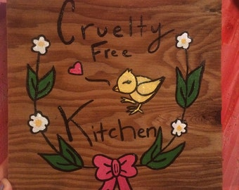 Cruelty Free Kitchen Wall-Hanging on Repurposed Wood