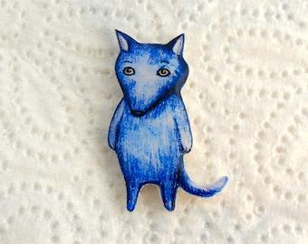 Wolf, blue wolf, pin Animal, brooch animal, jewelry , wolf, wolf jewelry, clay wolf,, clay pin. Free shipping