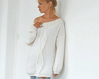 oversized sweater, hand knit cardigan, white sweater, Oversized Chunky knit sweater, cable knit sweater, jumper dress, white sweater dress