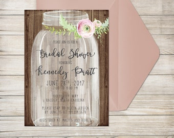 Bridal Shower Invitation, Printed Invitation with Envelope, Mason Jar Bridal Shower, Pink Watercolor Flower, Rustic Bridal Shower