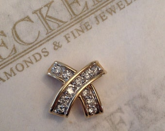Vintage 14k two tone gold 11 Diamond Curvy 'X' Shaped Slide Pendant .17 tw K-I1