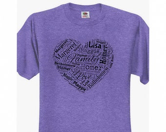 Personalized Love and Family Wordstream Art Mother's Day T-Shirt