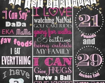 DIGITAL MILESTONE BIRTHDAY poster, pink and gold