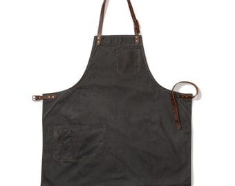 Bond Street Waxed Apron, Charcoal
