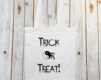 Trick Or Treat Tote Bag Halloween Party Bag Canvas Shopper White Black Shopping Carrier