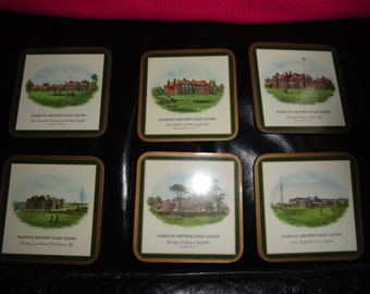 90's vintage 1505... Pimpernel Cork Backed Coasters - British Golf Clubs/Courses Set of 6